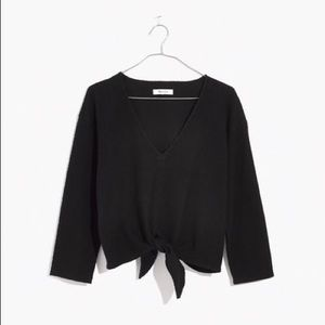 Madewell Long Sleeve Textured Tie Front Top Black